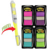 Post-It 680-PPBGVA Flags Value Pack 25x43mm Bright Colours + Highlighter Pack of
