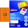 Avery High Visibility Shipping Laser Labels L7163FO 99.1x38.1 Orange 350 Labels,