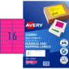 Avery High Visibility Shipping Laser Label L7162FP  99.1x34mm Fluro Pink 400 Lab