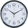 Italplast Wall Clock 30cm Round With Large Numbers Black Frame White Plastic Fac