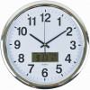 Italplast Wall Clock Inset LCD Date Month Temperature 43cm Round Chrome Frame Wh