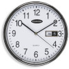 Carven Wall Clock 285mm Diam With Date Silver Frame
