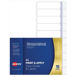 Avery L7410-10 Print & Apply Label Dividers A4 10 Tabs Clear