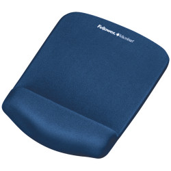 Fellowes Mouse Pad Wrist Rest Plush Touch Lycra Microban Blue