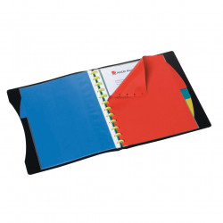 Marbig Kwikzip Display Book A4 Refillable 20 Pocket With 4 Colour Dividers Black