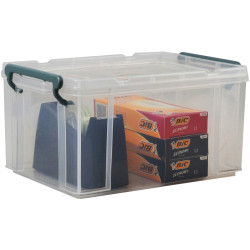 Italplast 20 Litre Stacka Plastic Storage Box With Secure Lid Clear