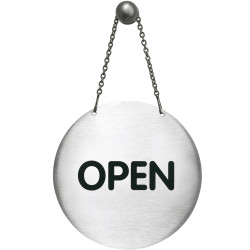 Durable Pictogram Sign Reversible Open/Closed with Chain 130mm Silver