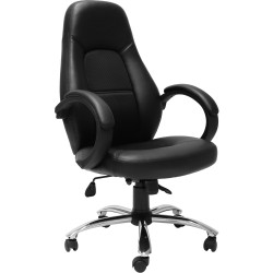 Rapidline CL410 Executive High Back Chair Black PU with Fabric Inlay