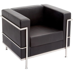 Space Single Seater Lounge Chair with Chrome Frame Black PU Upholstery