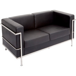Space Two Seater Lounge Chair with Chrome Frame Black PU Upholstery