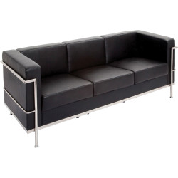 Space Three Seater Lounge Chair with Chrome Frame Black PU Upholstery