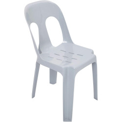 Pipee Stacking Plastic Chair Indoor or Outdoor Use 150kg Load Rated White Polypr