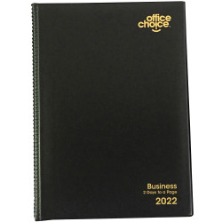 Office Choice Business Diary 2 Days To A Page A5 Black
