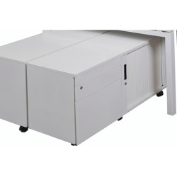 Go Steel Mobile Caddy With Right Hand Tambour Door White Satin