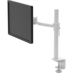Pluto Single Monitor Arm With Clamp Easily Adjust Arm Height White