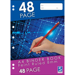 Sovereign Binder Book A4 8mm Ruled 7 Hole Punched 48 Page